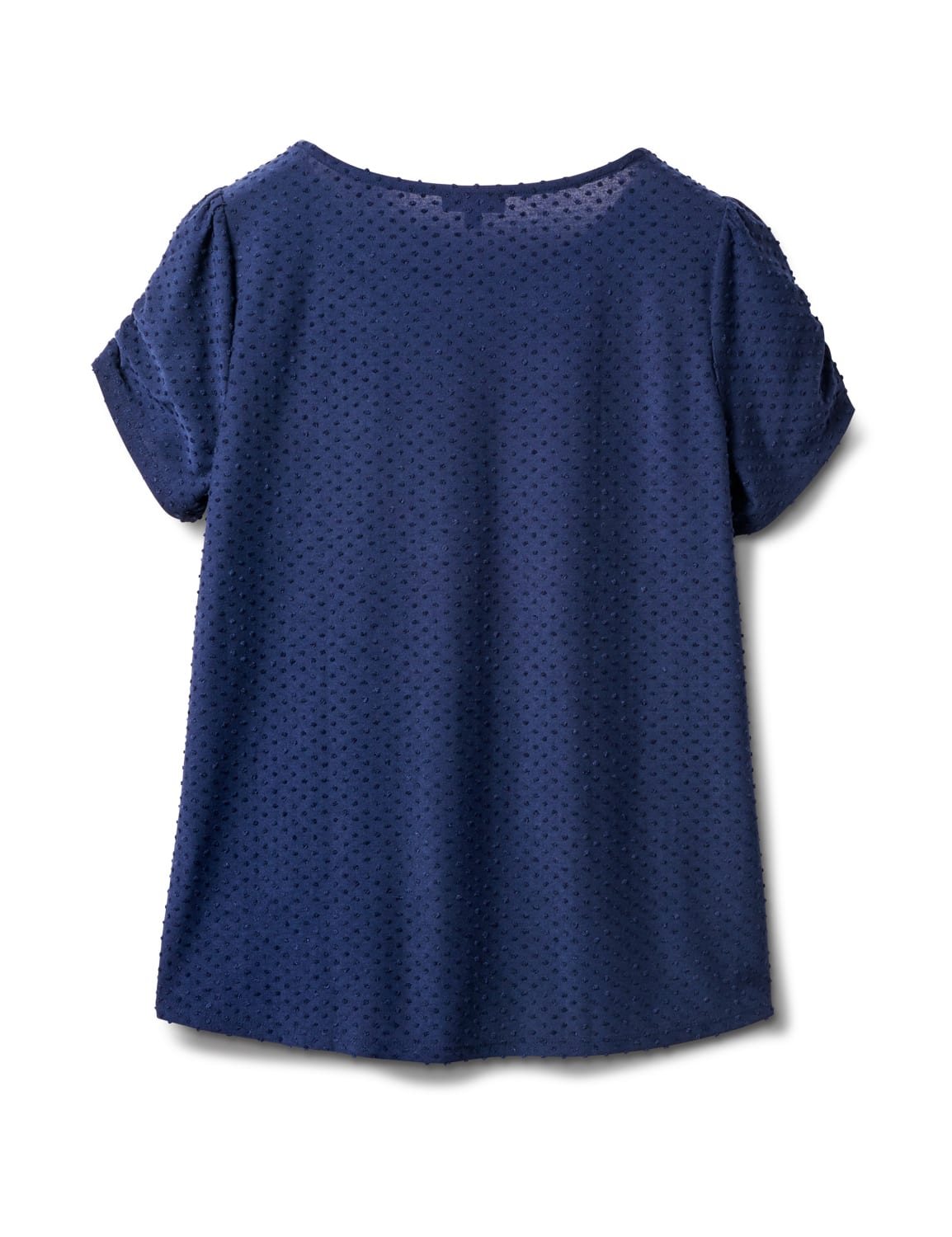 Clip Dot Tie Front Knit Tee - Blue - Back