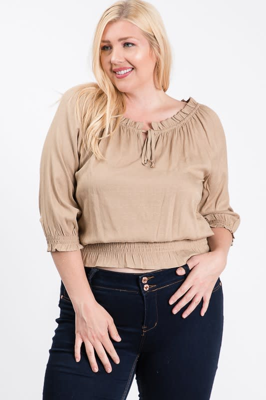 Off-shoulder x Smocking Cropped Top - Khaki - Front