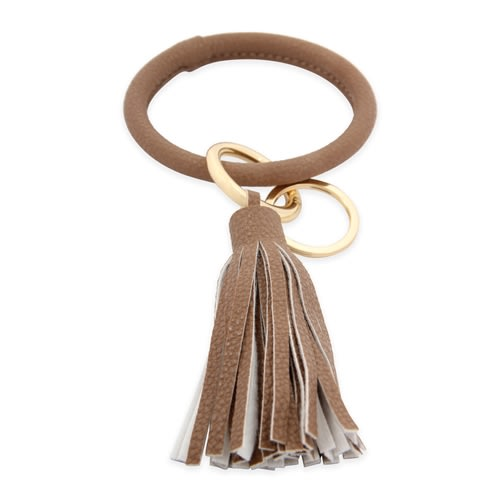All Leather Tassel Key Ring - Light Brown - Back