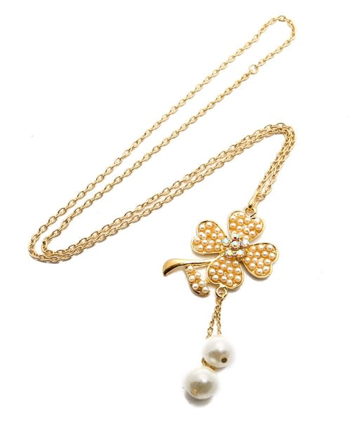 Flower Power Gold Chain Necklace - Gold - Front