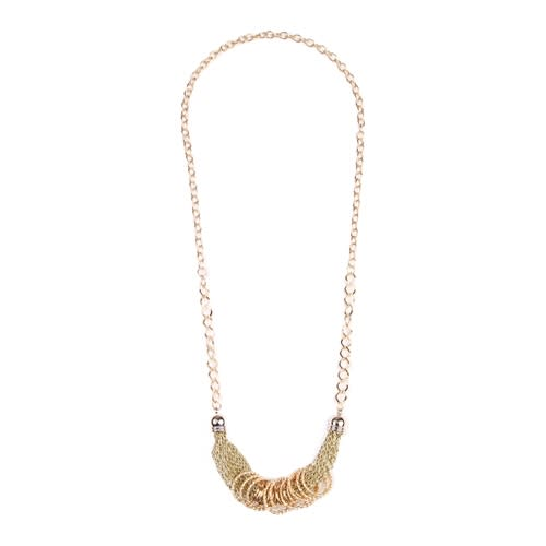 Simple Gold/Chain Mesh Necklace - Gold - Front