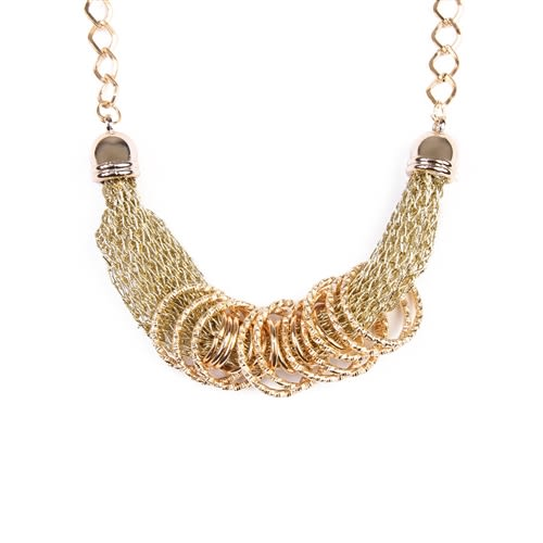 Simple Gold/Chain Mesh Necklace - Gold - Back