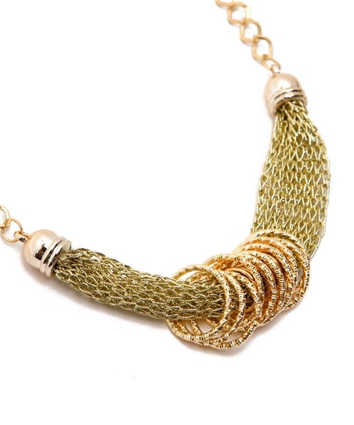 Simple Gold/Chain Mesh Necklace - Gold - Detail