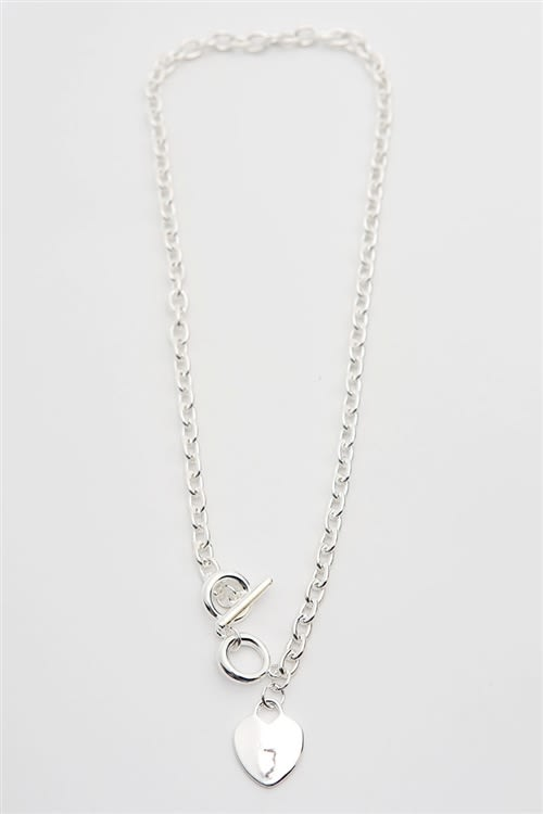 Silver Heart Necklace - silver - Front