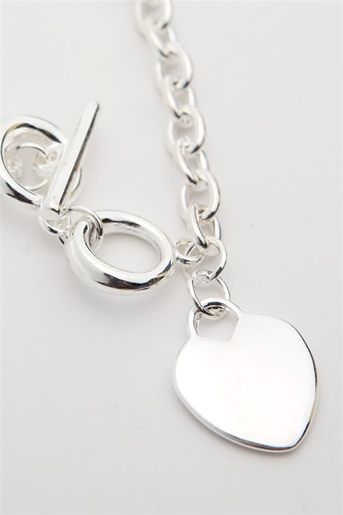 Silver Heart Necklace - silver - Back
