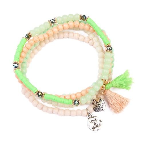 Beads Meet Tassel Bracelet - Green - Front