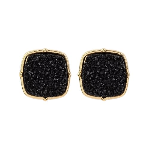 Sparkly Druzy Post Earrings - Black  - Front