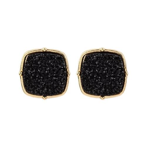 Sparkly Druzy Post Earrings - Black  - Back