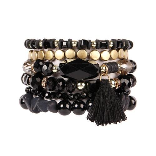 Black Boho Charm Tassel Bracelet - black - Front