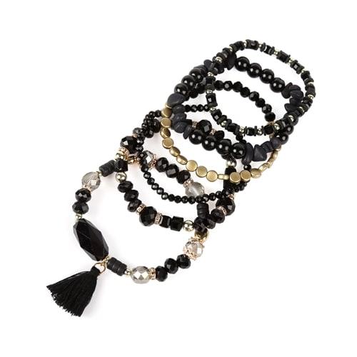 Black Boho Charm Tassel Bracelet - black - Back