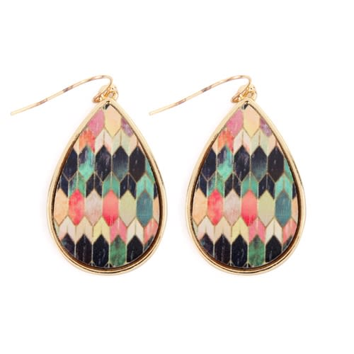 Colorfully patterned Teardrop Earrings - Gold  - Front