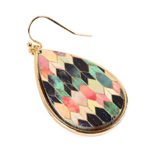 Colorfully patterned Teardrop Earrings - Gold  - Back