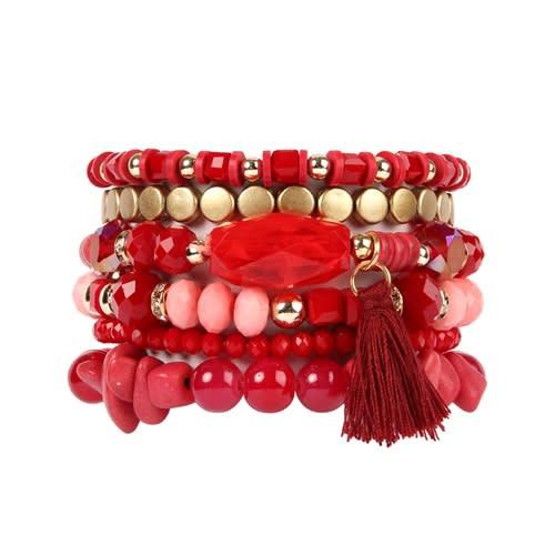 Red Boho Charm Tassel Bracelet - Red - Front