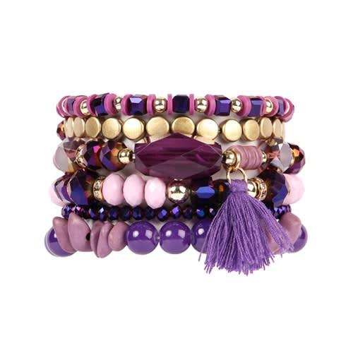 Purple Lover Boho Charm Tassel Bracelet - Purple - Front