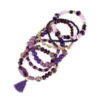 Purple Lover Boho Charm Tassel Bracelet - Purple - Back