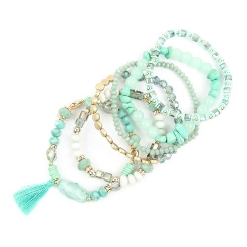 Aquamarine Loving Boho Charm Bracelet - Green - Back