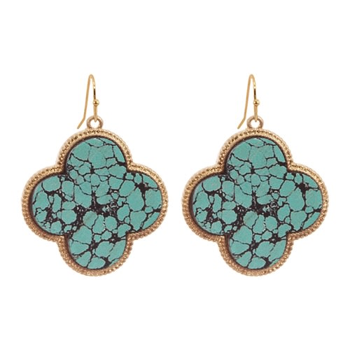 Artistic Clover Earrings - Turquoise / Black  - Front