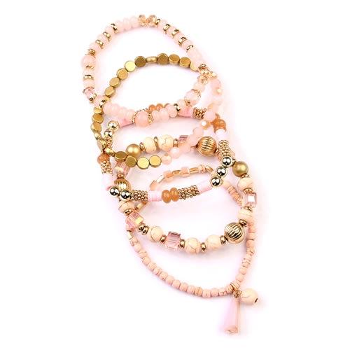 Pink Multi-Beaded Stretch Bracelet - Pink - Detail