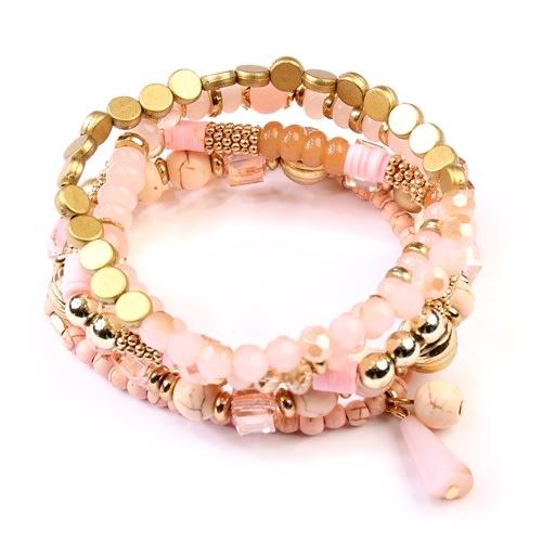 Pink Multi-Beaded Stretch Bracelet - Pink - Back