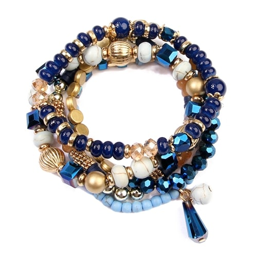 Multi-Beaded Stretch Bracelet - Navy - Back