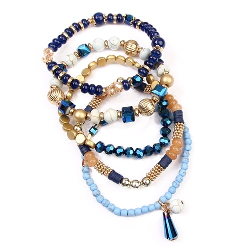 Multi-Beaded Stretch Bracelet - Navy - Detail