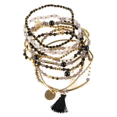 Black x Gray Beaded Bracelets - Black  - Back