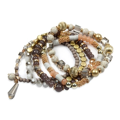 Gray Multi-Beaded Stretch Bracelet - Gray  - Back