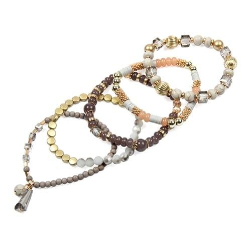 Gray Multi-Beaded Stretch Bracelet - Gray  - Detail