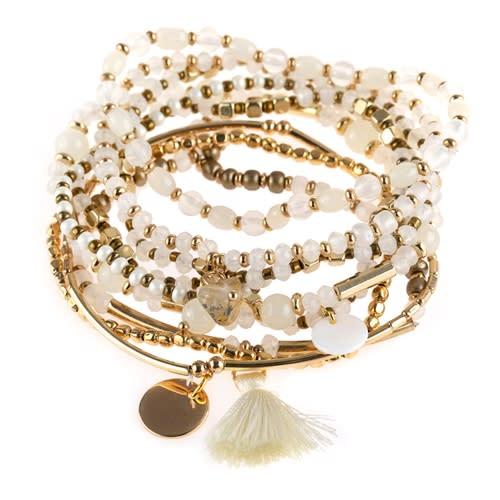 Mixed & Matched Beaded Bracelet - white - Back