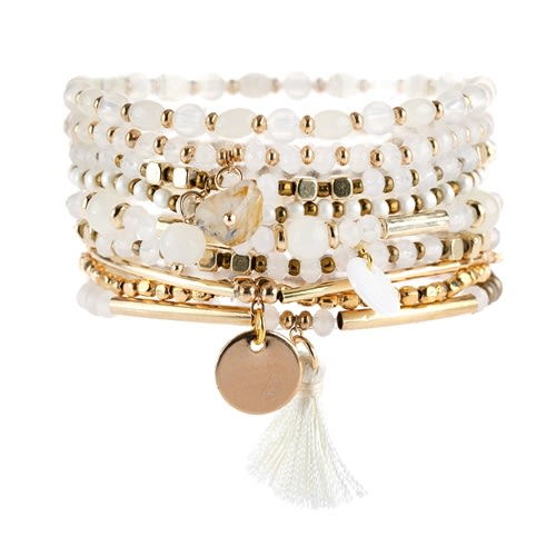 Mixed & Matched Beaded Bracelet - white - Front