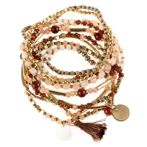 Fierce Red x Brown Mixed & Matched Beaded Bracelet - Red Brown - Back