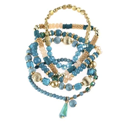 Shades of Blue Multi-beaded Stretch Bracelet - Blue  - Back