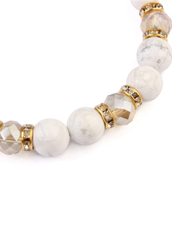 White Rondelle Glass Beads Stretch Bracelet - White  - Back