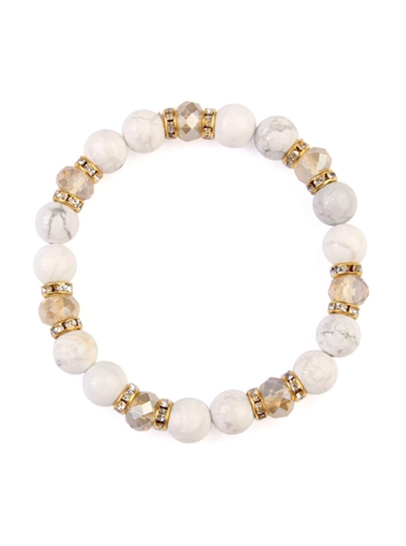 White Rondelle Glass Beads Stretch Bracelet - White  - Front