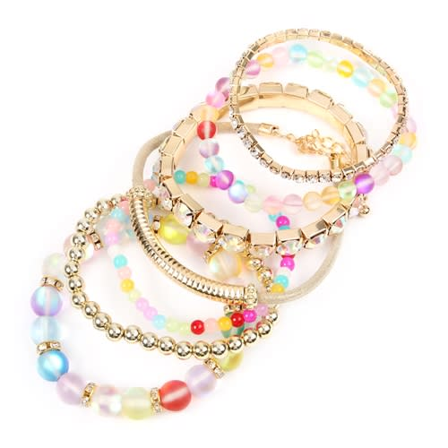 Multi-color Mermaid Glass Bracelet Set - Multicolor - Back