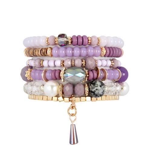 Purple Loving Stackable Bracelet - Purple - Front