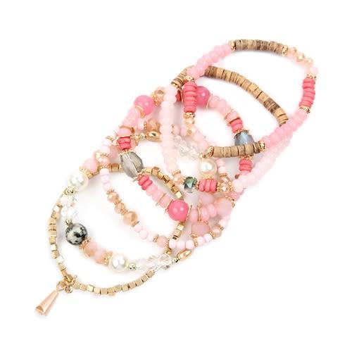 Pink Multi-Stone Beads Stackable Bracelet - Pink - Back