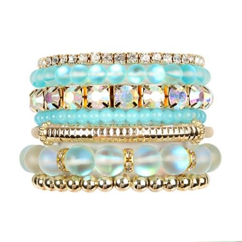 Mermaid Glass Bracelet Set - Aqua - Front