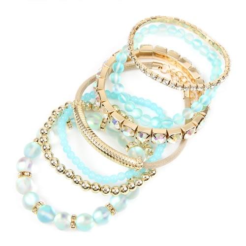 Mermaid Glass Bracelet Set - Aqua - Back