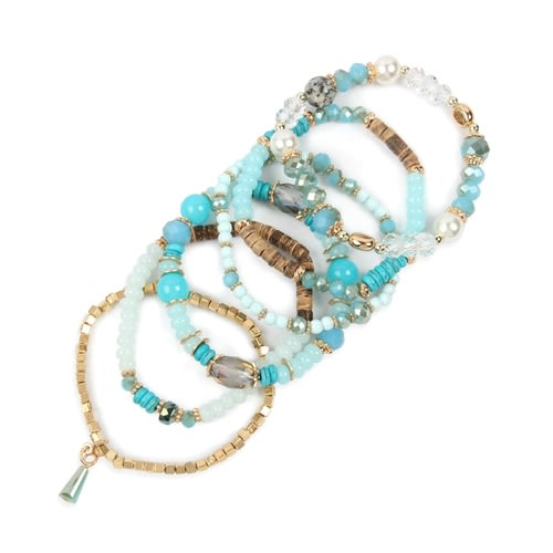 Turquoise Multi-stone Beads Bracelet - Blue - Back