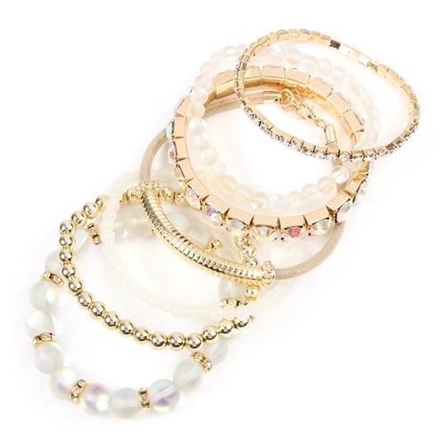 Natural Mermaid Glass Bracelet Set - Natural - Back