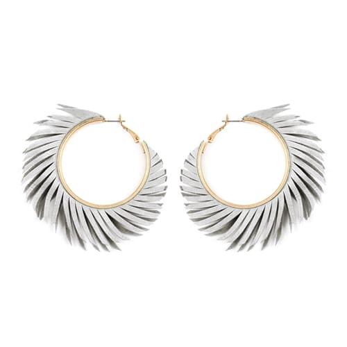 Gray Fringe Hoop Earrings - Grey - Front