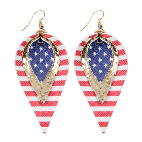 4th of July Leather Drop Earrings - Gold - Front