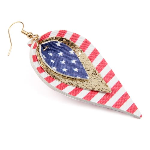 4th of July Leather Drop Earrings - Gold - Back