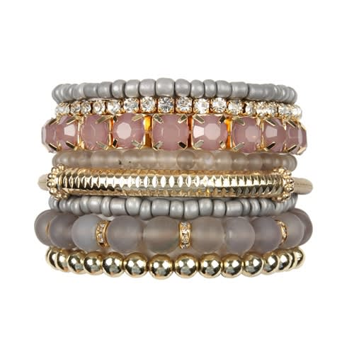 Gray Stackable Beads Bracelet Set - Gray  - Front