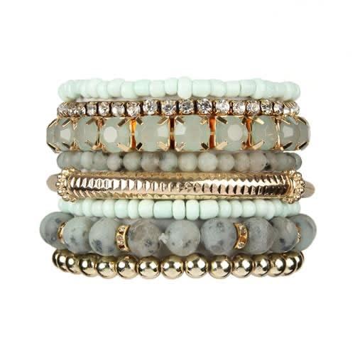 Light Mint Stackable Beads Bracelet Set - Light Mint - Front