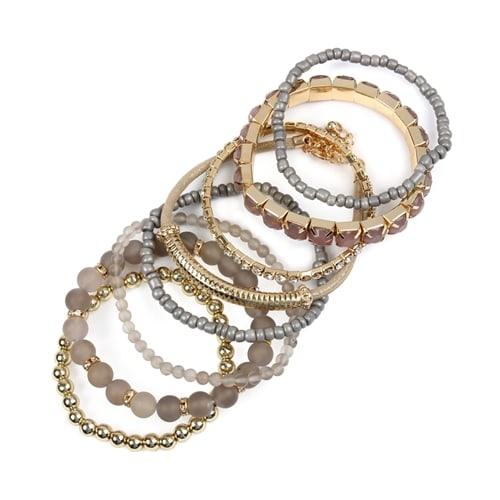 Gray Stackable Beads Bracelet Set - Gray  - Back