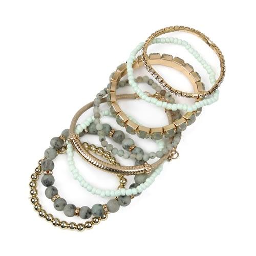 Light Mint Stackable Beads Bracelet Set - Light Mint - Back