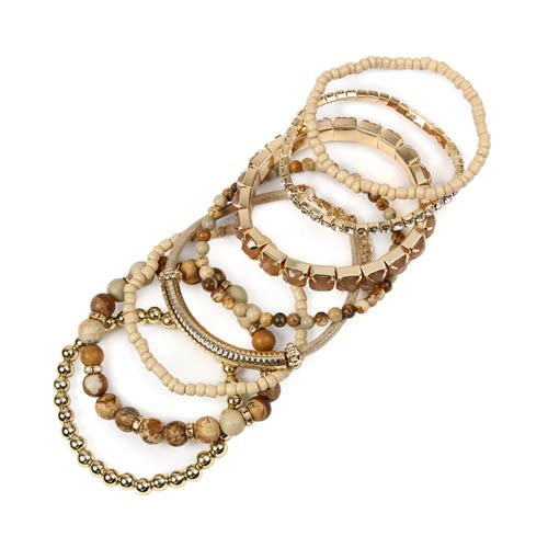 Light Brown Stackable Beads Bracelet Set - Light Brown  - Back