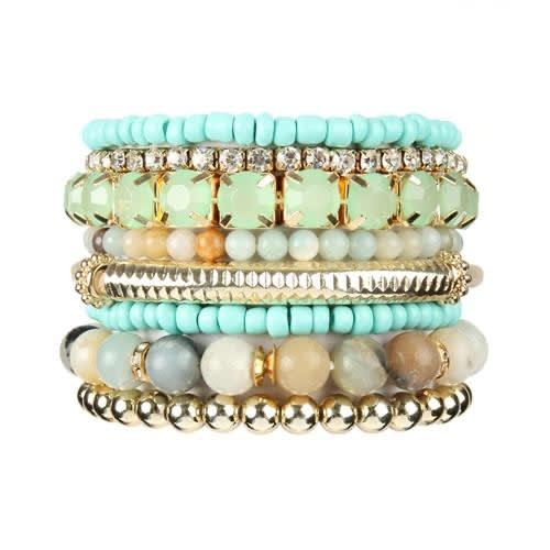 Amazonite Stackable Beads Bracelet Set - Amazonite  - Front
